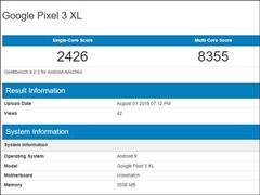 预装Android P!谷歌Pixel 3 XL在Geekbench跑分数据库亮相