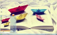 书页上的小纸船win7唯美主题