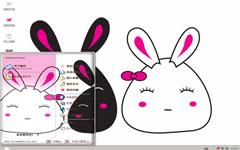 黑白情侣兔xp电脑主题