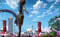 十字路口唯美动漫风景Win7主题