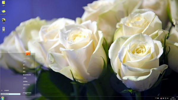 清新唯美的白色玫瑰Win7主题